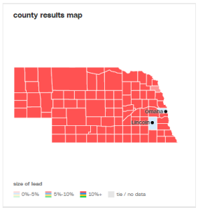 Nearly all red, except Clinton is winning with a slight majority in Douglas and Lancaster County.